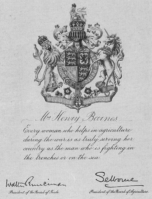 Women's Land Army Certificate