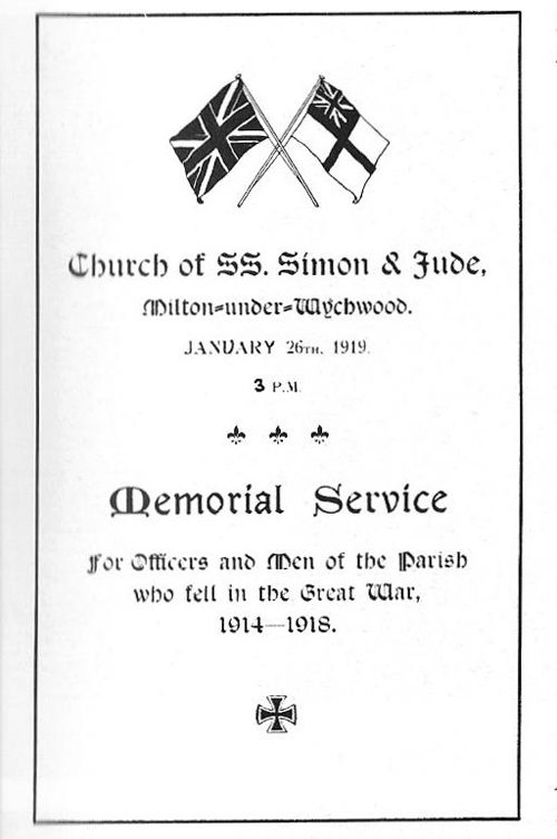 Front cover of the service sheet for the service held at Milton Church, 1919