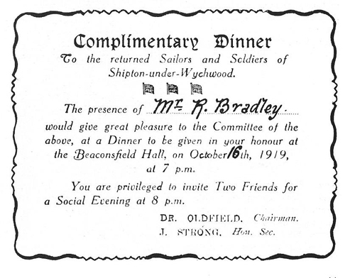 Invitation to the dinner held in Shipton, 1919.