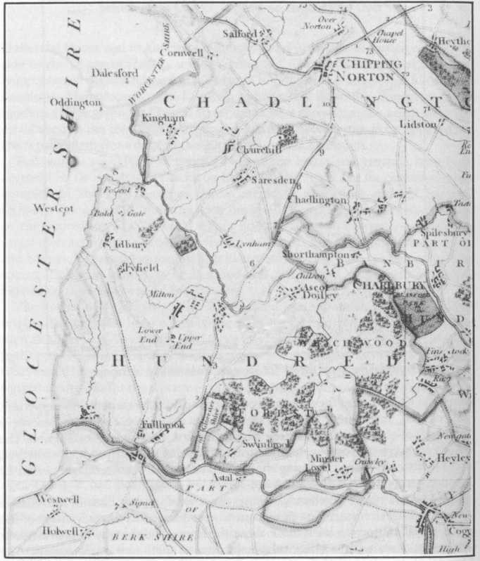 Shipton under Wychwood on the road from Burford to Chipping Norton (Davis Map 1797)